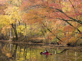 Woman Kayaking Down the Chesapeake and Ohio Canal National Park Photographic Print by Skip Brown