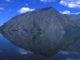 Mountain Is Reflected in a Still Lake, Kathleen Lake, Yukon Territory, Canada Photographic Print by Nick Norman