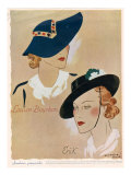 Hats, Magazine Plate, France, 1936 Giclee Print