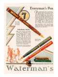 Waterman's, Magazine Advertisement, UK, 1929 Giclee Print