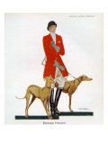 Woman in Hunting Outfit with Hounds, Magazine Plate, Spain, 1929 Prints
