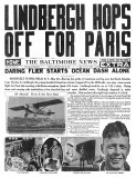 The Baltimore News, May 20, 1927: Lindbergh Hops Off for Paris Poster