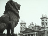 Close-up of a Statue Depicting a Seated Lion, Budapest Photographic Print by Vincenzo Balocchi