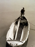 View from Above of a Fisherman on a Boat Photographic Print by Vincenzo Balocchi