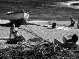 Youth Taking a Photograph of a Girl on the Seashore Photographic Print by Vincenzo Balocchi