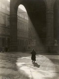 Lights in the Piazza Della Signoria, a Foggy Morning in December. Florence Photographic Print by Vincenzo Balocchi