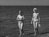 Woman in Bathing Suit on the Beach Photographic Print by Vincenzo Balocchi