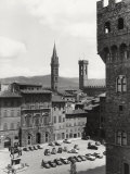 Piazza Della Signoria in Florence with the Belltower of the Badia Fiorentina and the Bargello Tower Photographic Print by Vincenzo Balocchi