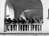 Group of People Leaning Against the Balustrade of a Palace, Impruneta Photographic Print by Vincenzo Balocchi