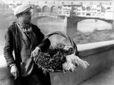 Flower Vendor on the Banks of the Arno River in Florence Photographic Print by Vincenzo Balocchi