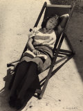 Girl Asleep on a Lawn Chair Photographic Print by Vincenzo Balocchi