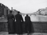Priests on a Bridge in Florence Photographic Print by Vincenzo Balocchi