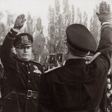 Benito Mussolini Honors a Fascist Official with a Salute Photographic Print by A. Villani
