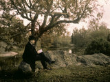 Man Reading a Book in Fontainebleau Forest Photographic Print by Henrie Chouanard