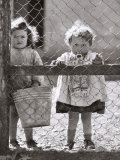 Two Baby Girls Looking Out from Behind a Fence Photographic Print by A. Villani