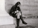 Young Woman Writing under the Loggia Del Lanzi in Florence Photographic Print by Vincenzo Balocchi