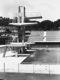 Diving Board of an Olympic Sized Swimming Pool in a Sporting Facility Photographic Print by A. Villani
