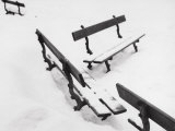 Benches Covered with Snow Photographic Print by A. Villani