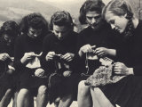 Young Women Knitting Photographic Print by A. Villani