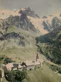 Panorama of the Meije Mountain, Oisans, French Alps, with the Village La Grave Photographic Print by Henrie Chouanard