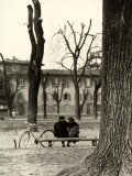 Young Couple Sitting on a Bench in Piazza Donatello in Florence Photographic Print by Vincenzo Balocchi