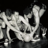 Portrait of Three Basket Players Fighting for Possession of the Ball Photographic Print by A. Villani