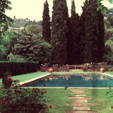 View of a Garden with a Swimming Pool Photographic Print by A. Villani