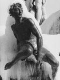 Detail of Satyr at the Neptune Fountain During an Ice-Storm, Piazza Della Signoria, Florence Photographic Print by Vincenzo Balocchi