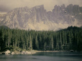 Carezza Lake with the Latemar Mountains and Catinaccio Photographic Print by Henrie Chouanard