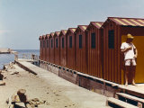 Red Bathing-Huts Photographic Print by Vincenzo Balocchi