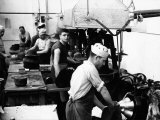 Workers During a Phase of Production on the Machinery of the Barbisio Hat Factory Photographic Print by A. Villani
