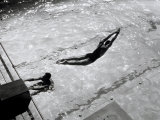 View from Above of a Swimmer Diving Photographic Print by A. Villani