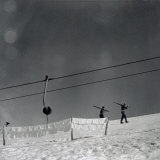 Skiers Shown While They Go Up the Snow-Covered Slope, Numerous Napkins are Spread Out in the Sun Photographic Print by A. Villani