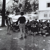 Boy's Class at a Secondary School Singing During a Break Photographic Print by A. Villani