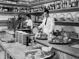 Two Waiters Behind the Counters of the Ristorante Diana, in Via Indipendenza, Bologna Photographic Print by A. Villani