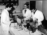 Technicians Working in a Chemical Laboratory at the Aldini Valeriani Institute Photographic Print by A. Villani