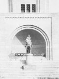 Equestrian Monument to Benito Mussolini in the Littoriale of Bologna Photographic Print by A. Villani