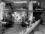 Blown Glass Works at the Vetrosilex Factory in Castel Maggiore, Bologna Photographic Print by A. Villani