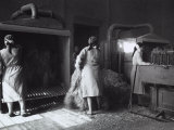 In a Textile Factory a Few of Women Workers Sort the Raw Hemp by Means of Machinery Photographic Print by A. Villani