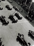 View from Above, of a Few Racing Cars, Waiting for the Starting Signal Photographic Print by A. Villani