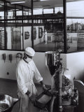 Two Workers Producing Chemical and Pharmaceutical Material in the Glaxo Factory Photographic Print by A. Villani