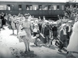 Large Group of Children from a Summer Camp Arrive at a Train Station Photographic Print by A. Villani