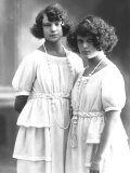Portrait of Wanda and Marion Wulz with Identical Clothing and Hairstyles Photographic Print by Carlo Wulz