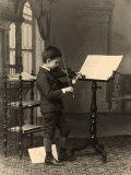 Full-Length Portrait of Of Antonio Wulz as He Plays the Violin Photographic Print by Giuseppe Wulz