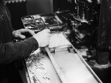 Worker at the Newspaper Printing Facility of the Daily Il Resto Del Carlino of Bologna Photographic Print by A. Villani