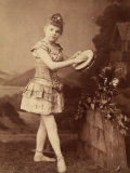 Portrait of a Young Girl in Dance Costume Playing a Tamborine Photographic Print by Giuseppe Wulz