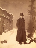 Portrait of Antonio Wulz in Winter Clothing, with Overcoat and Bowler Photographic Print by Carlo Wulz