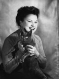 Portrait of Wanda Wulz with Her Cat Plunci Photographic Print by Marion Wulz