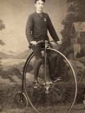 Portrait of a Young Man on His Bicycle Photographic Print by Giuseppe Wulz