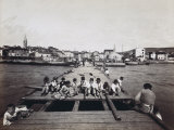 Children Sitting on the Pier at the Port of Isola in Slovenia Photographic Print by Giuseppe Wulz